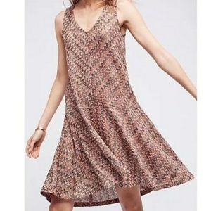 Maeve Anthropologie Westwater Zig Zag Knit Dress L